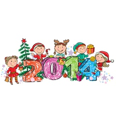 New years children 2014 vector