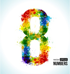 Color paint splashes Gradient Number 8 vector image