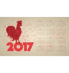 2017 vintage calendar with red rooster vector