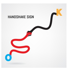 Handshake abstract sign design vector