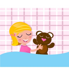 sleeping girl with teddy bear vector image