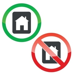 House tablet permission signs set vector