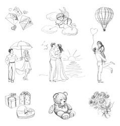 Hand drawn love story icons vector