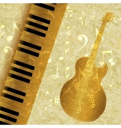 Musical background piano keys and guitar jazz vector