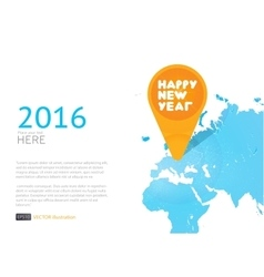 New year icon in world map background vector