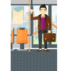 Man standing inside public transport vector