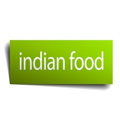Indian food green paper sign isolated on white vector