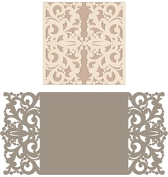 Laser cut envelope template for invitation vector image