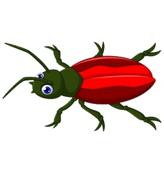 Cute red beetle cartoon vector