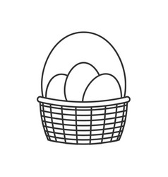 Basket with easter eggs line icon vector