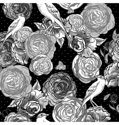 Beautiful Seamless Monochrome Rose Background vector image vector image