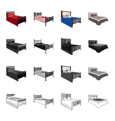 Bed mattress bedspread and other web icon in vector