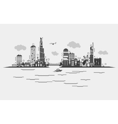 Black contoured buildings of a city on sea with vector image