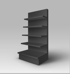 Black stand shop with shelves storefront isolated vector