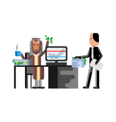 business meeting arabic and european businessmen vector image