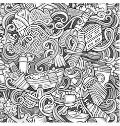 cartoon cute doodles bathroom seamless pattern vector image vector image