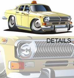 cartoon taxi vector image vector image