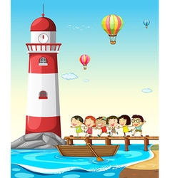 Children and lighthouse vector image