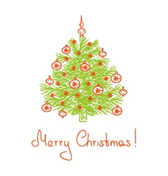 Christmas tree drawn by hand vector image