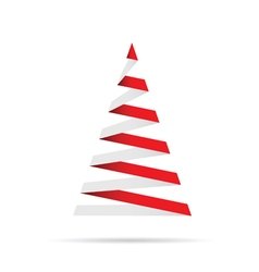 christmas tree in red and white vector image vector image