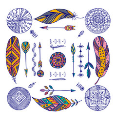 color set of boho elements vector image