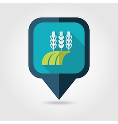 Ears of wheat barley rye field flat pin map icon vector