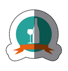 emblem wine bottle with glass icon vector image vector image