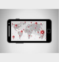 Flat black modern mobile phone with navigator vector