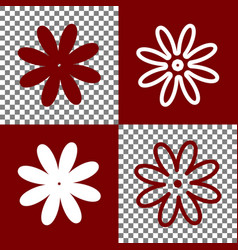 Flower sign bordo and white vector