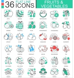 Fruits and vegetables flat line outline vector image