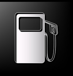 Gas pump sign gray 3d printed icon on vector