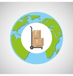 Globe world delivery trolley package graphic vector