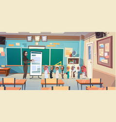 group of arab pupils with teacher in classroom on vector image vector image