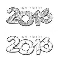 Happy new year 2016 Decorative vintage vector image vector image