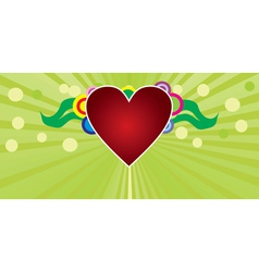 Heart on green background vector image