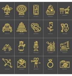 Icons outline valentine s day vector