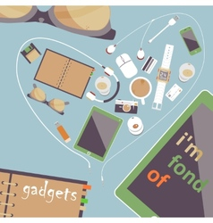 Im fond of gadgets set Flat business vector image vector image