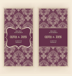 invitation cards or wedding card with damask vector image