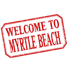 Myrtle beach - welcome red vintage isolated label vector