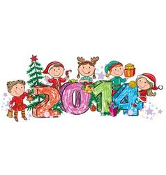 New Years children 2014 vector image vector image