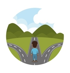 Person walking in the road vector