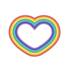 Rainbow icon heart realistic sign vector