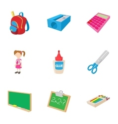 School icons set cartoon style vector