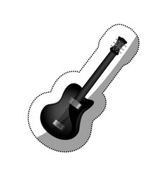 sticker monochrome silhouette with electric guitar vector image vector image