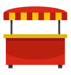 Store kiosk with red and yellow awning icon vector
