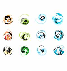 swirly graphic elements vector image