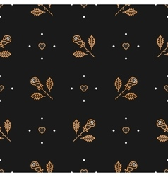 Thin line art seamless pattern of gold vector