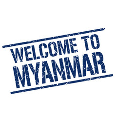 Welcome to myanmar stamp vector