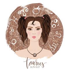 Zodiac signs taurus in image of beauty gir vector