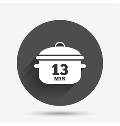 Boil 13 minutes cooking pan sign stew food vector